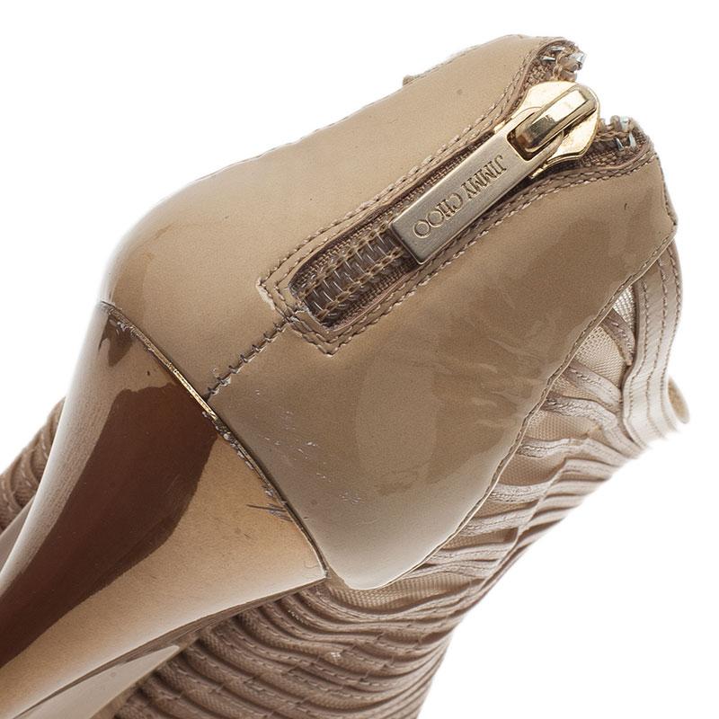 Jimmy Choo Beige Leather and Mesh Ellie Wedge Platform Booties Size 37