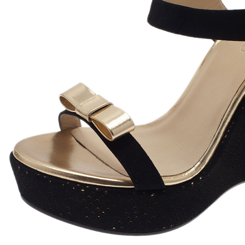 Jimmy Choo Black and Gold Nice Wedge Sandals  Size 41