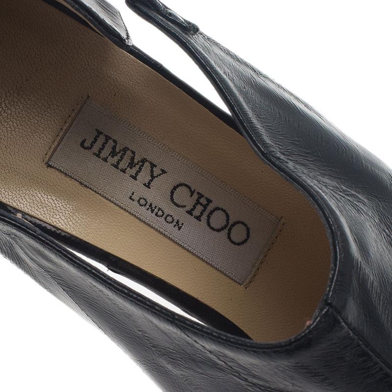 Jimmy Choo Black Leather Peep Toe Ankle Booties Size 37.5