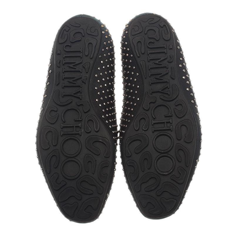 Jimmy Choo Black Studded Wheel Smoking Slippers Size 38