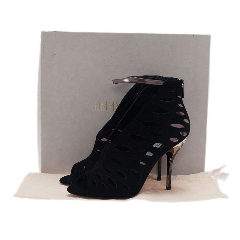 Jimmy Choo Black Suede Tamera Cutout Ankle Strap Sandals Size 39.5