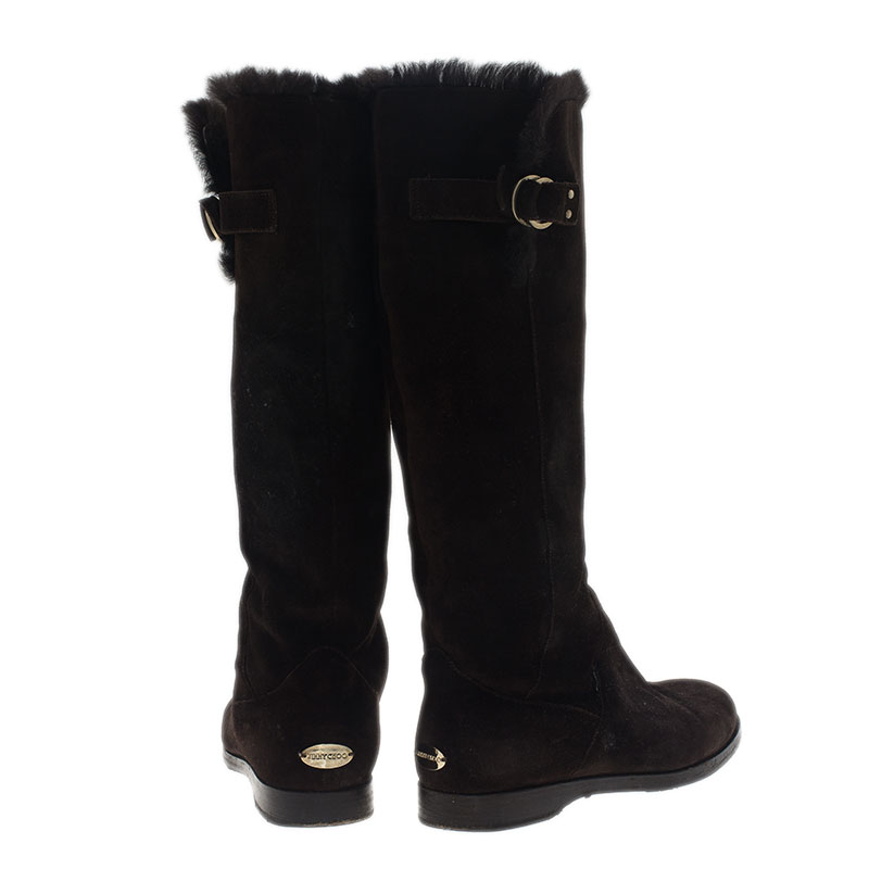 Jimmy Choo Brown Suede Fur Knee Boots Size 37.5