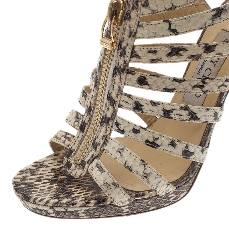 Jimmy Choo Grey Python Glenys Cage Sandals Size 39.5