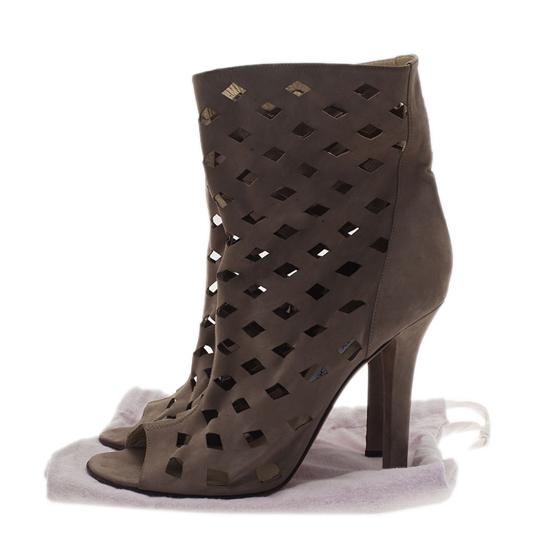 Jimmy Choo Grey Suede Reese Cutout Ankle Boots Size 40.5