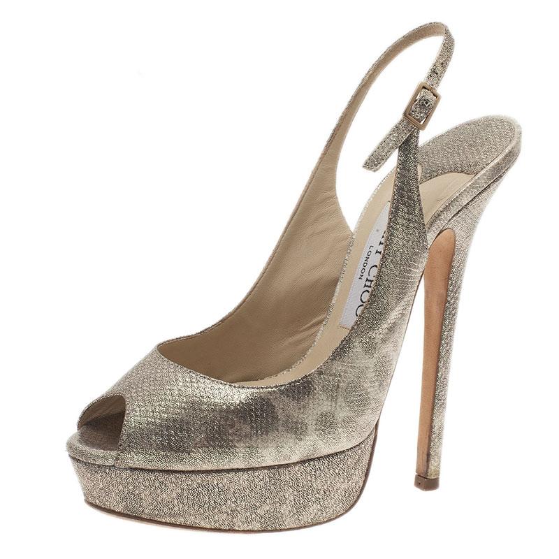 Jimmy Choo Metallic Leopard Print Vita Platform Slingback Sandals Size 37