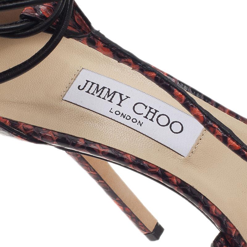 Jimmy Choo Orange Elaphe and Leather Motive Ankle Wrap Sandals Size 40