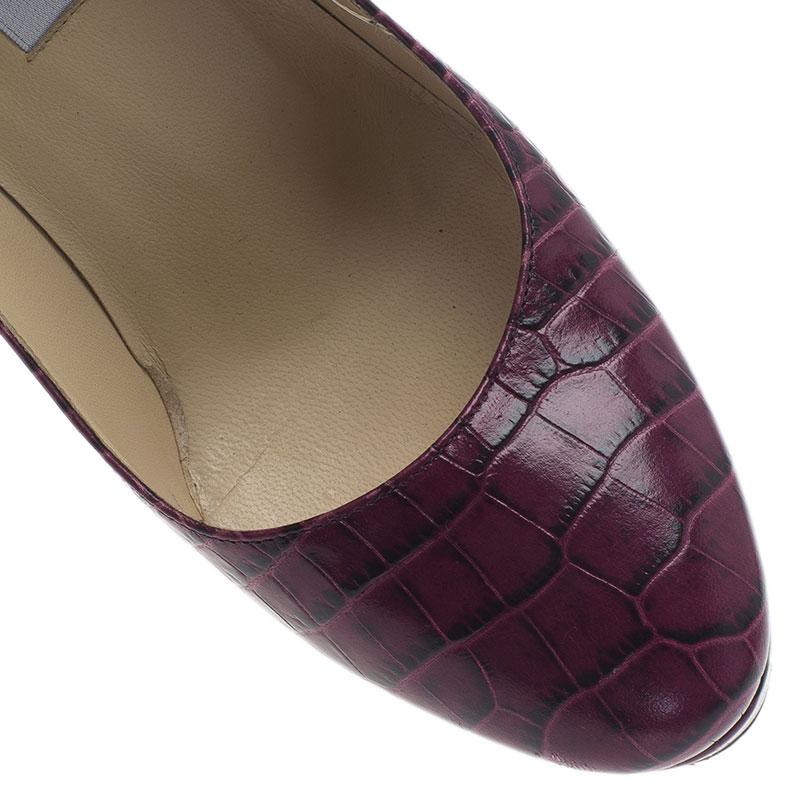 Jimmy Choo Purple Croc Embossed Leather Cosmic Pumps Size 38