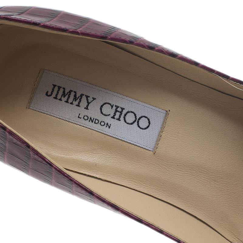 Jimmy Choo Purple Croc Embossed Leather Cosmic Pumps Size 38