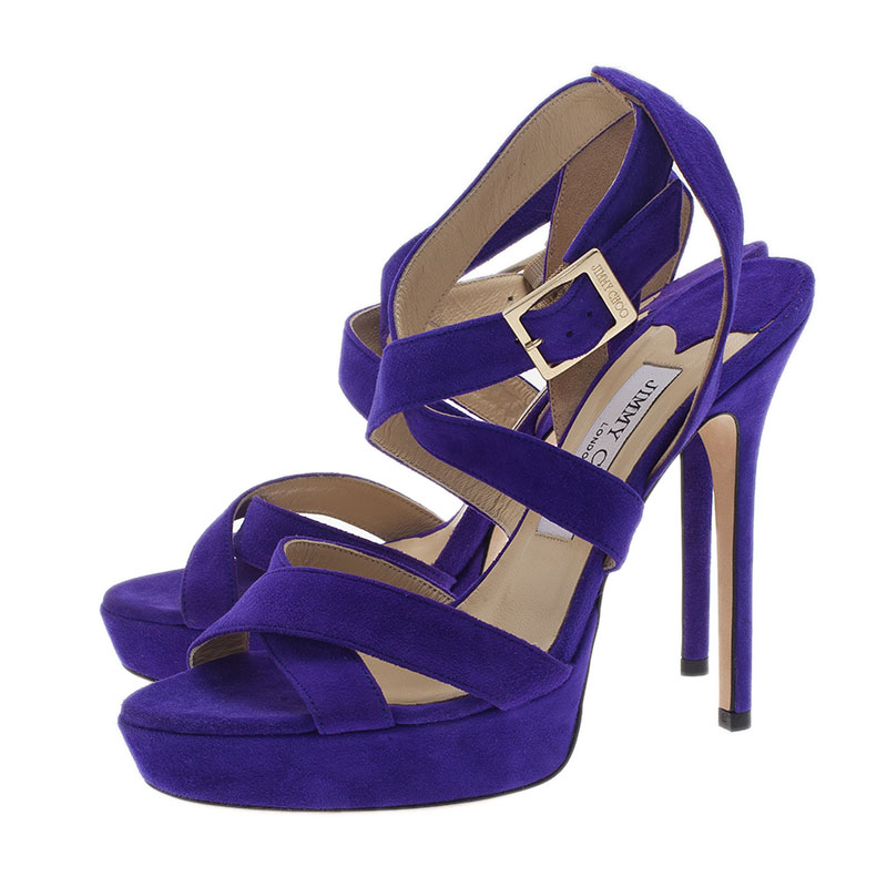 Jimmy Choo Purple Suede Vamp Platform Sandals Size 37