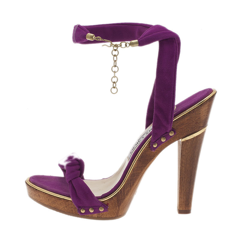 Jimmy Choo Purple Suede Wrap Around Wedge Sandals Size 38