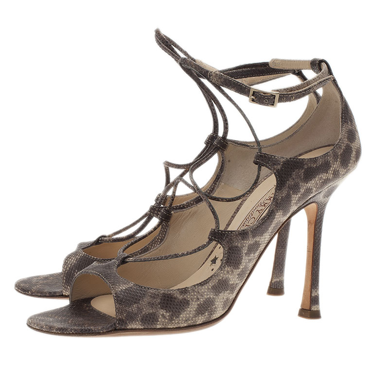 Jimmy Choo Python Embossed Lace Up Strappy Sandals Size 37.5