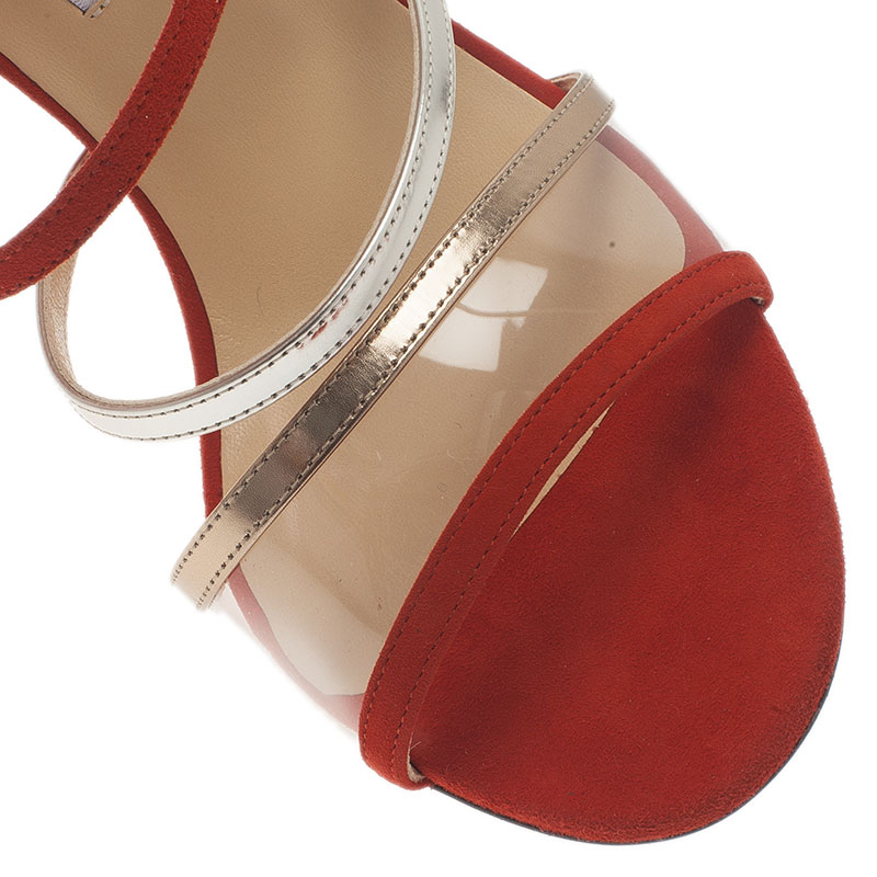 Jimmy Choo Red Multicolor Suede and Perspex Maitai Sandals Size 40