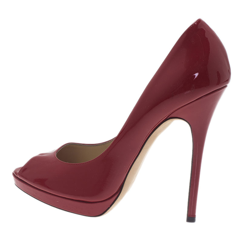 Jimmy Choo Red Patent Luna Peep Toe Pumps Size 39