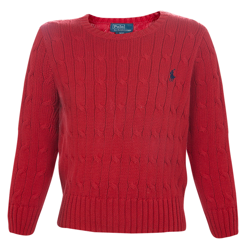 best service 9eaaf 66a99 Polo By Ralph Lauren Red Cable Knit Crewneck Sweater 3 Yrs