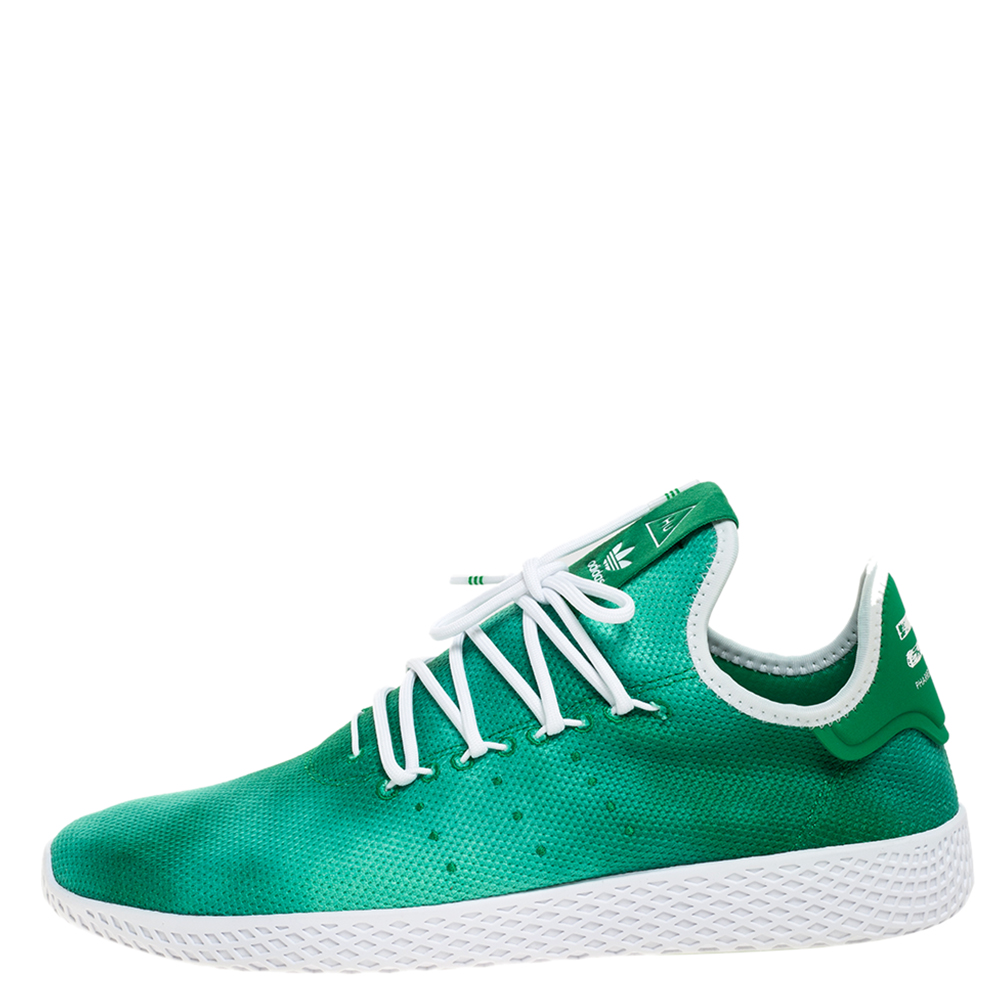 Pharrell Williams x Adidas Holi Green Knit Fabric PW Tennis Hu Sneakers Size