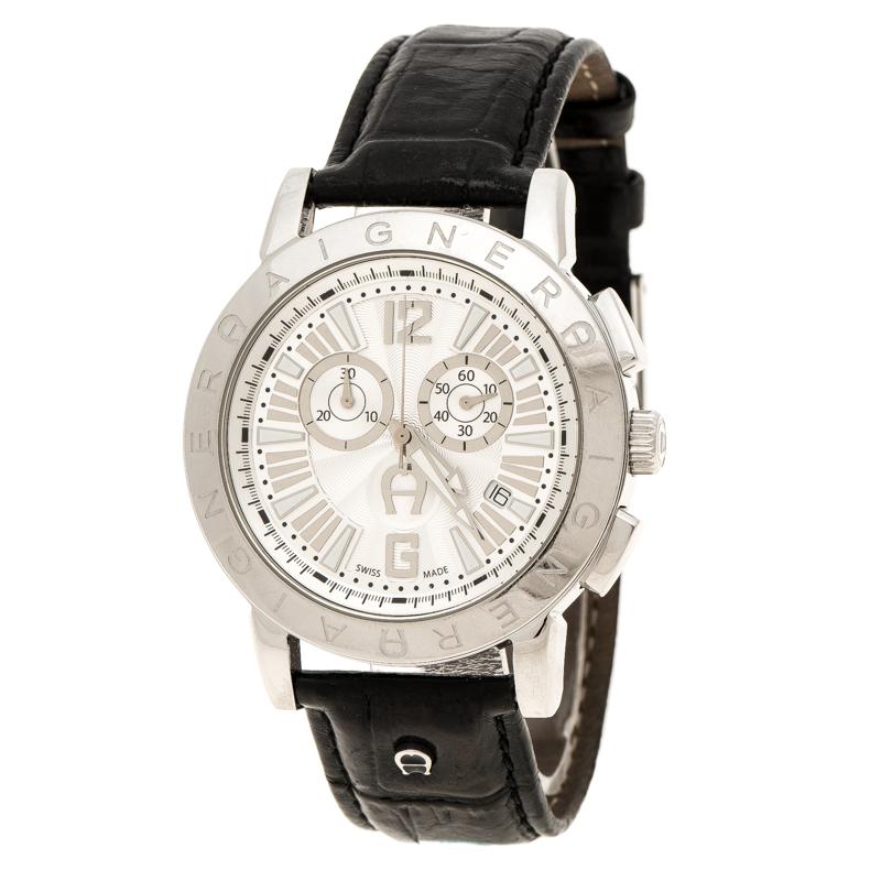 41a69db8ae50f إشتري ساعة يد رجالية إيغنر كورتينا A26500 ستانلس ستيل بيضاء فضية 42 ...