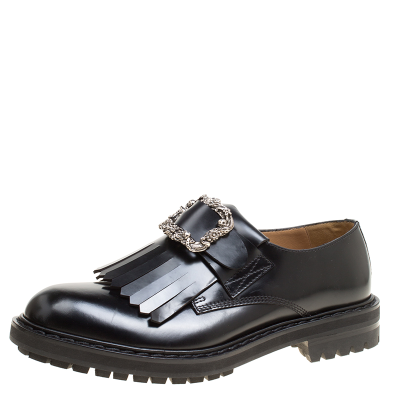 Alexander McQueen Black Leather Buckle Fringe Detail Brogues Size 44