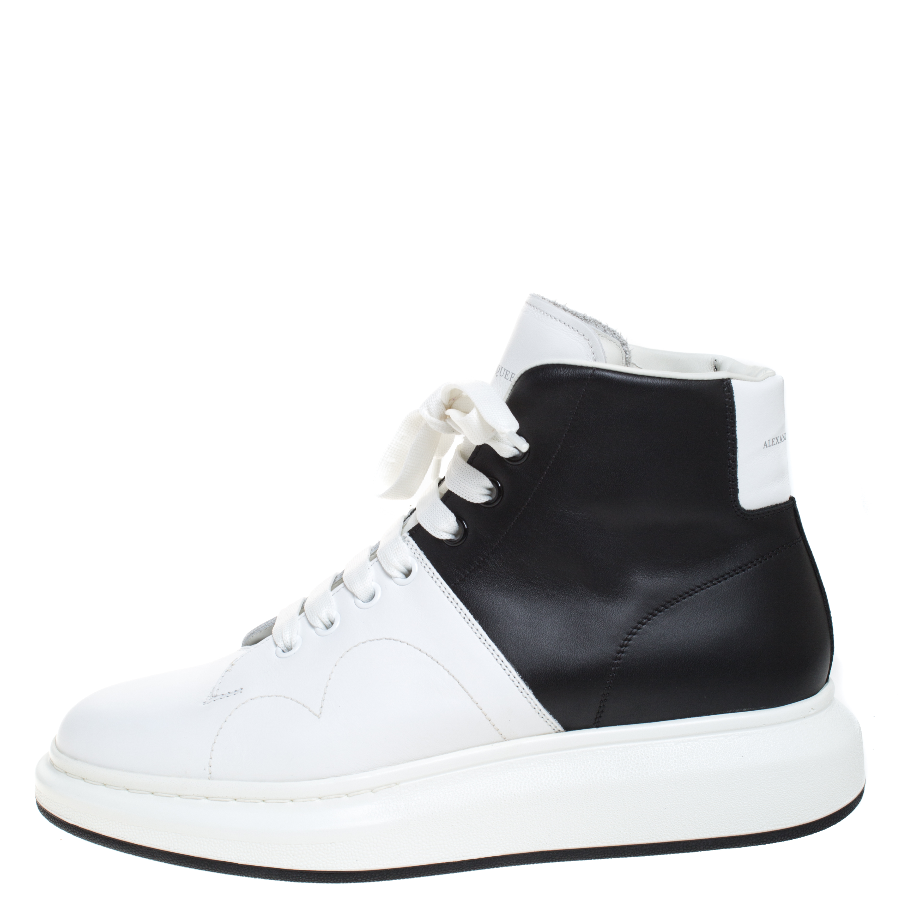 Alexander McQueen White/Black Leather Lace Up High Top Sneakers Size