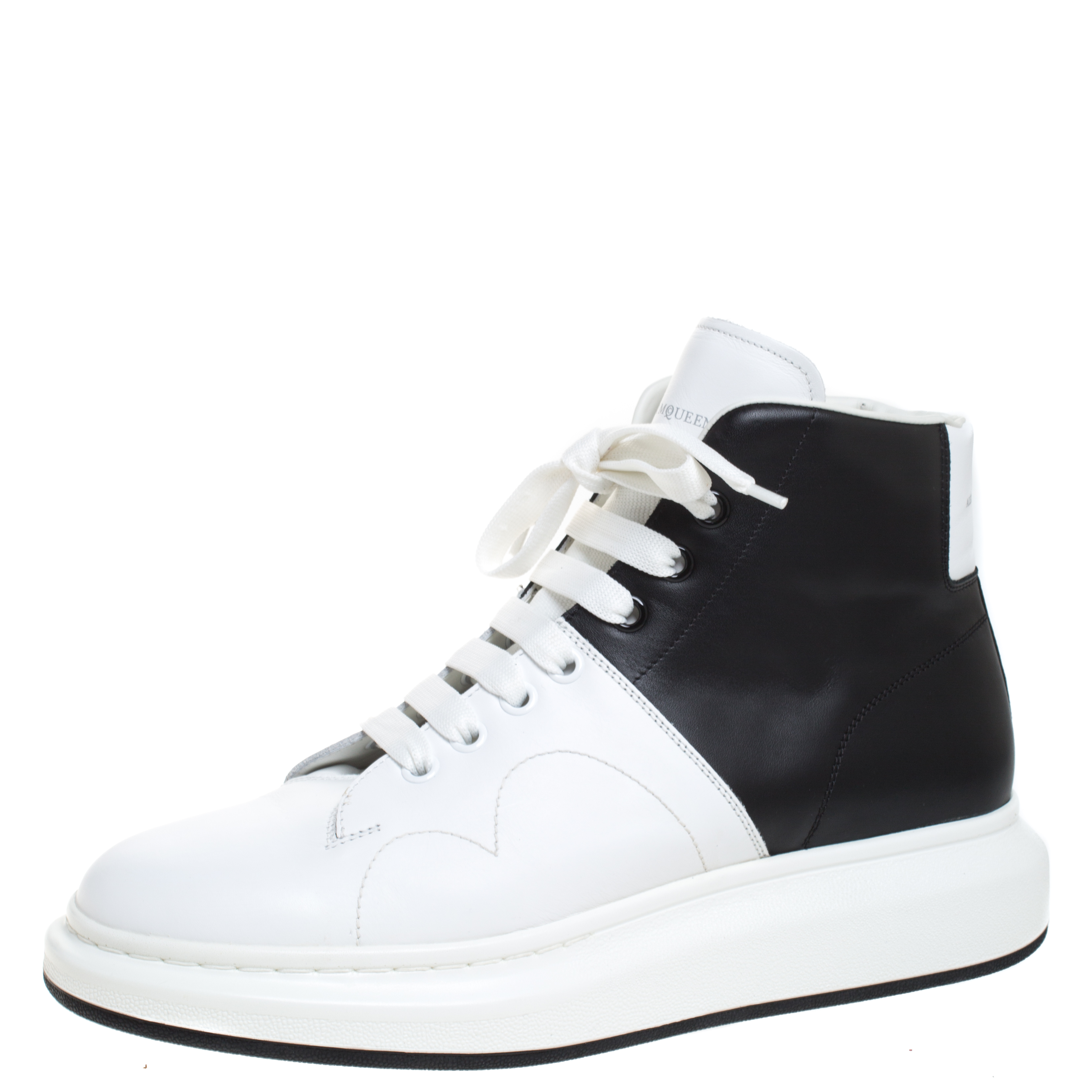 Alexander McQueen White/Black Leather Lace Up High Top Sneakers Size 45