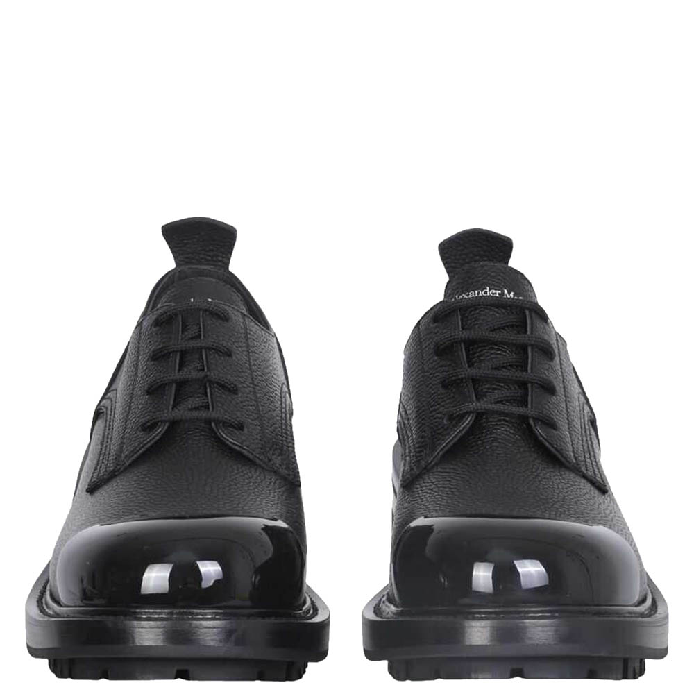Alexander McQueen Black Leather Worker Lace-Up Shoes Size IT 42