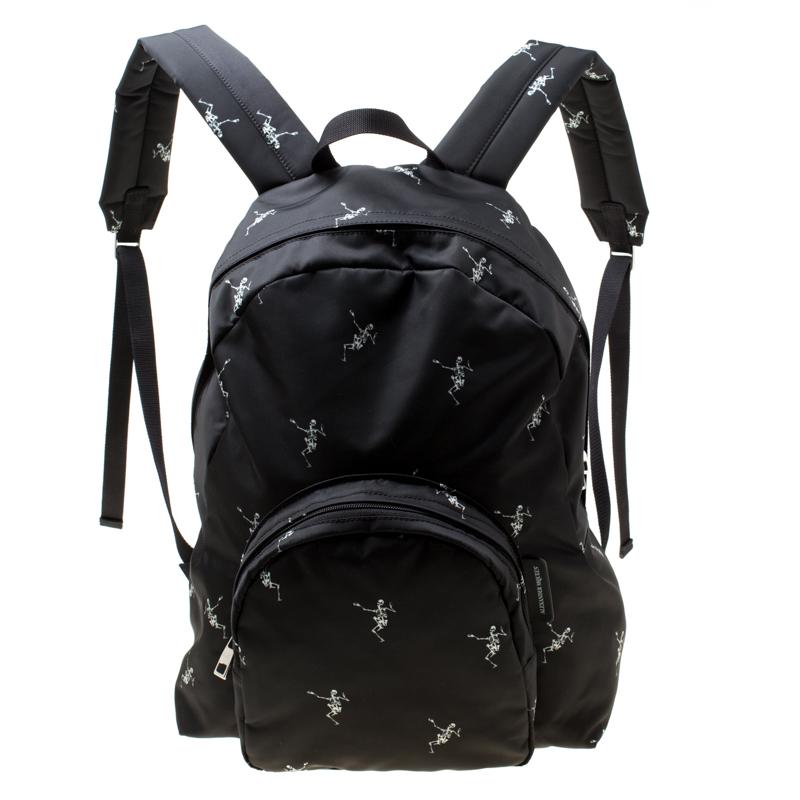 Купить со скидкой Alexander McQueen Black Dancing Skeleton Printed Nylon Backpack