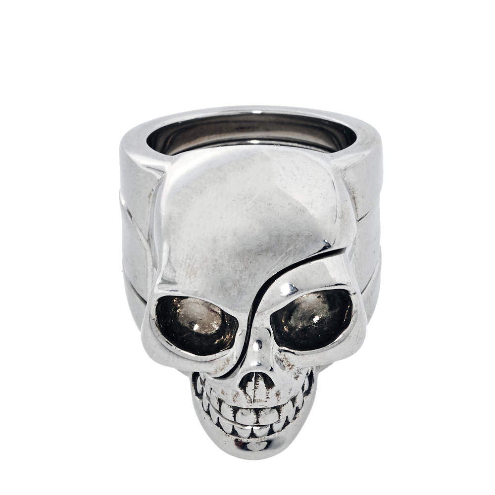 Alexander McQueen Divided Skull Silver Tone Ring Size 21  - buy with discount