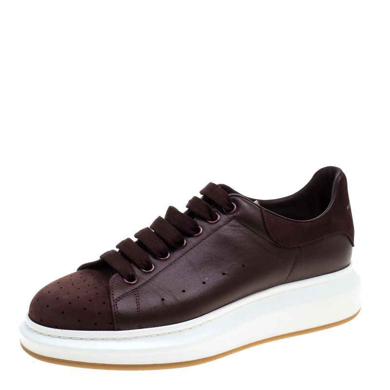 Alexander McQueen Burgundy Leather and Suede Platform Low Top Sneakers Size 43