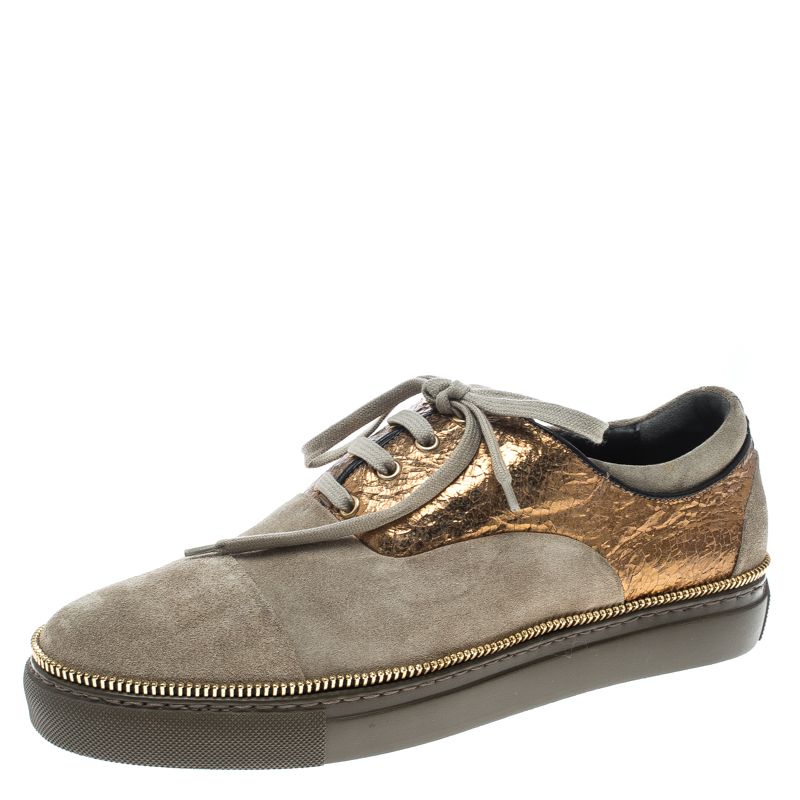 Alexander Mcqueen Khaki/Gold Suede and Leather Chain Embellished Sneakers Size 41