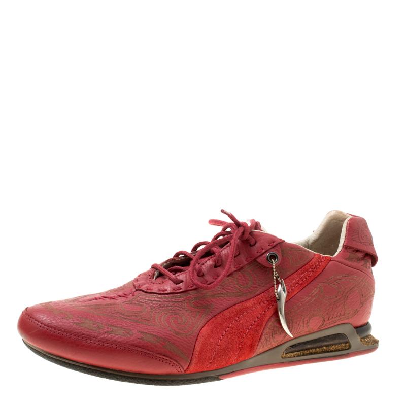 حذاء رياضي أليكساندر ماكوين فور بوما جلد منقوش أحمر مقاس 44