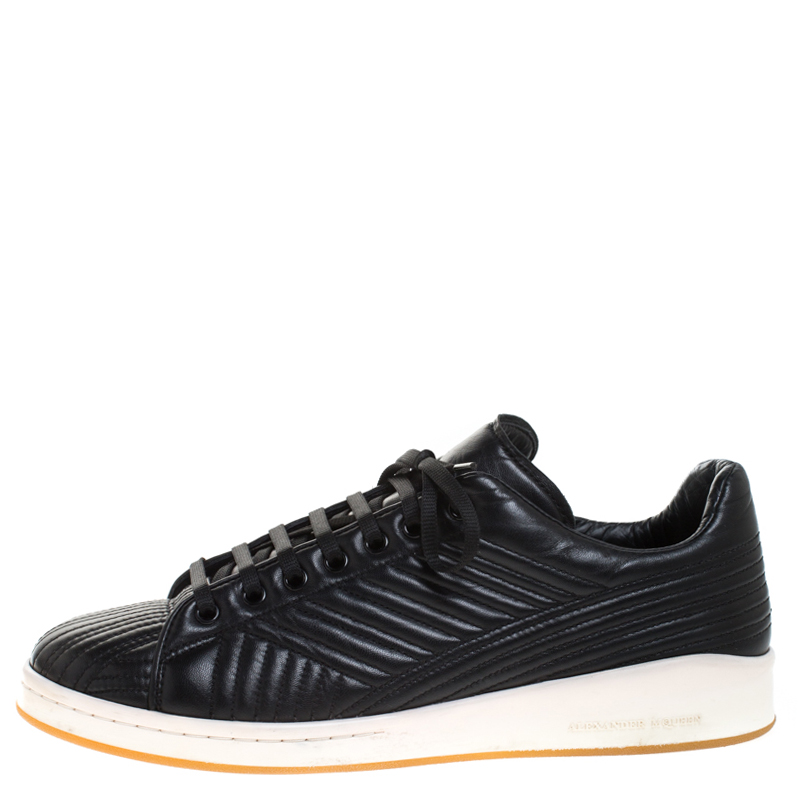 Alexander McQueen Black Quilted Leather Low Top Sneakers Size