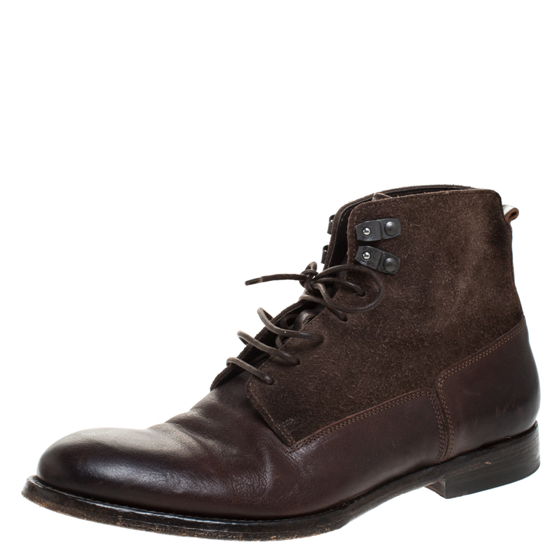 Alexander McQueen Brown Leather And Suede Lace Up Ankle Boots Size 40