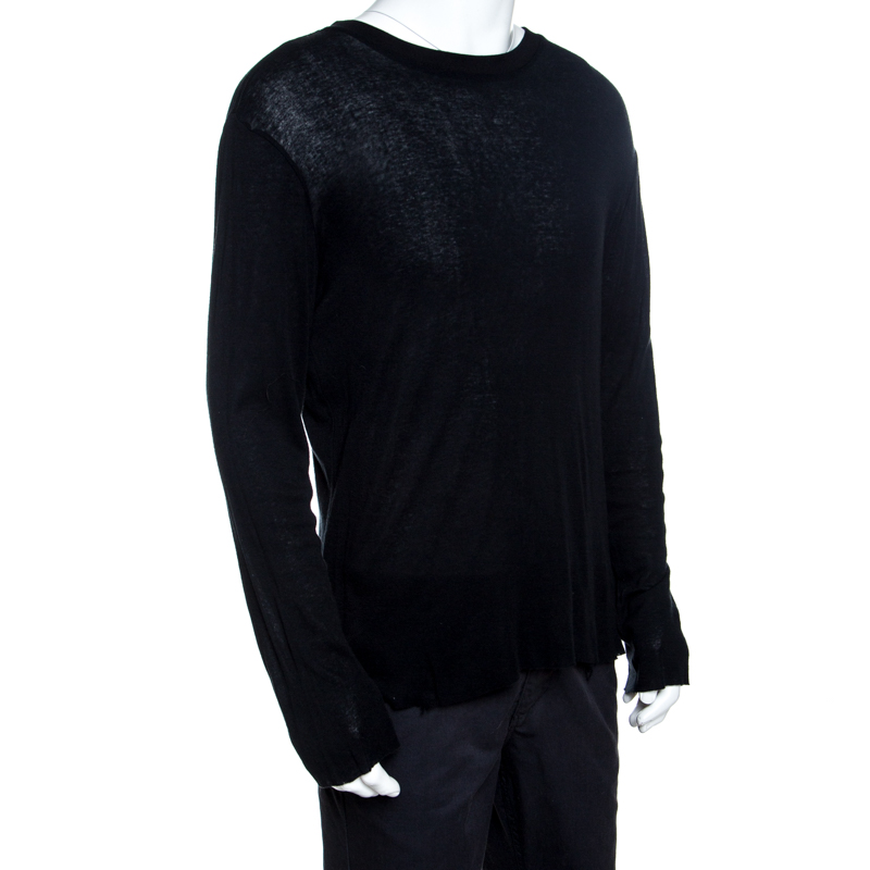Amiri Black Cotton Blend Distressed Long Sleeve T- Shirt