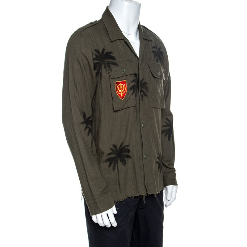 Amiri Khaki Green Palm Tree Print Cotton Applique Detail Distressed Shirt