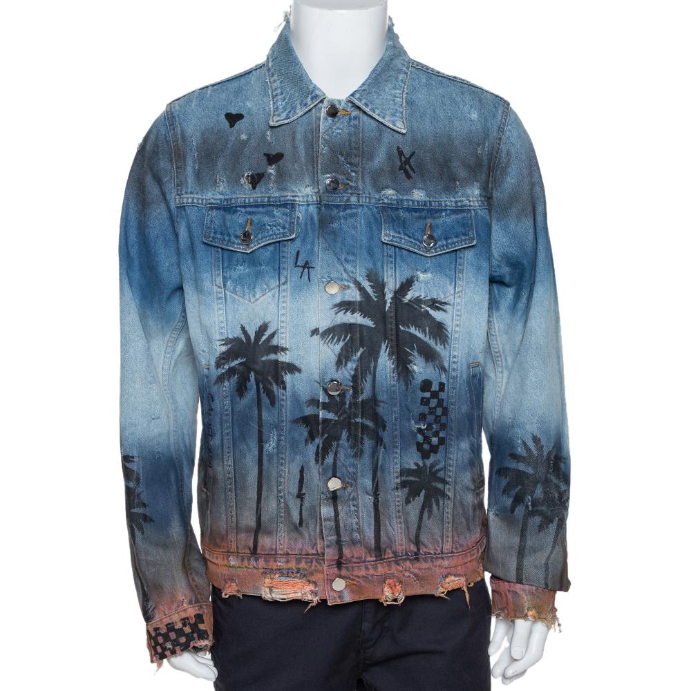 Amiri Blue Distressed Palm Tree Denim Jacket XL