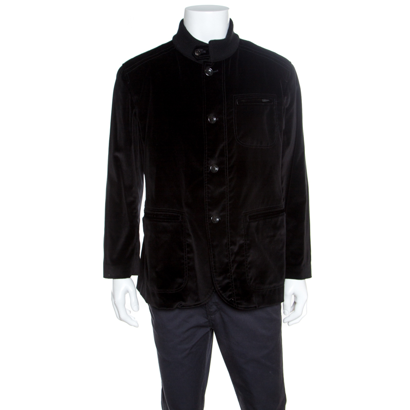Купить со скидкой Armani Collezioni Black Velvet Knit Collar Detail Button Front Jacket XXXL