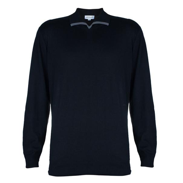 Armani Collezioni Black Long Sleeve Polo Shirt XL