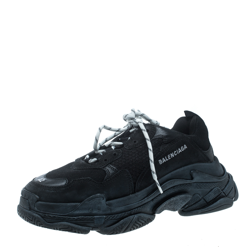 a2a31331ac155 ... Balenciaga Black Mesh And Leather Triple S Platform Sneakers Size 42.  nextprev. prevnext