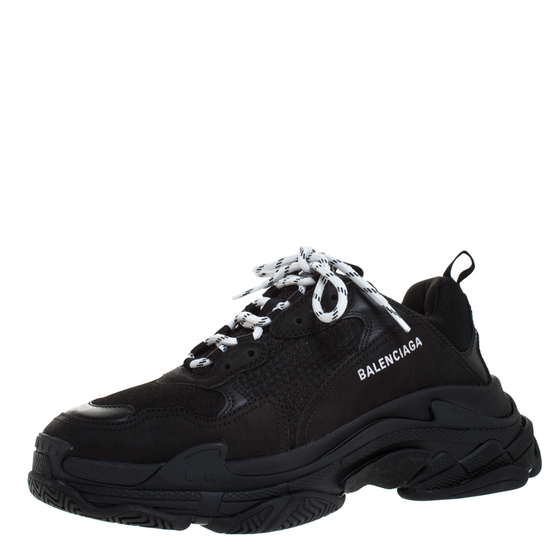 Balenciaga Black Mesh,Leather and Suede