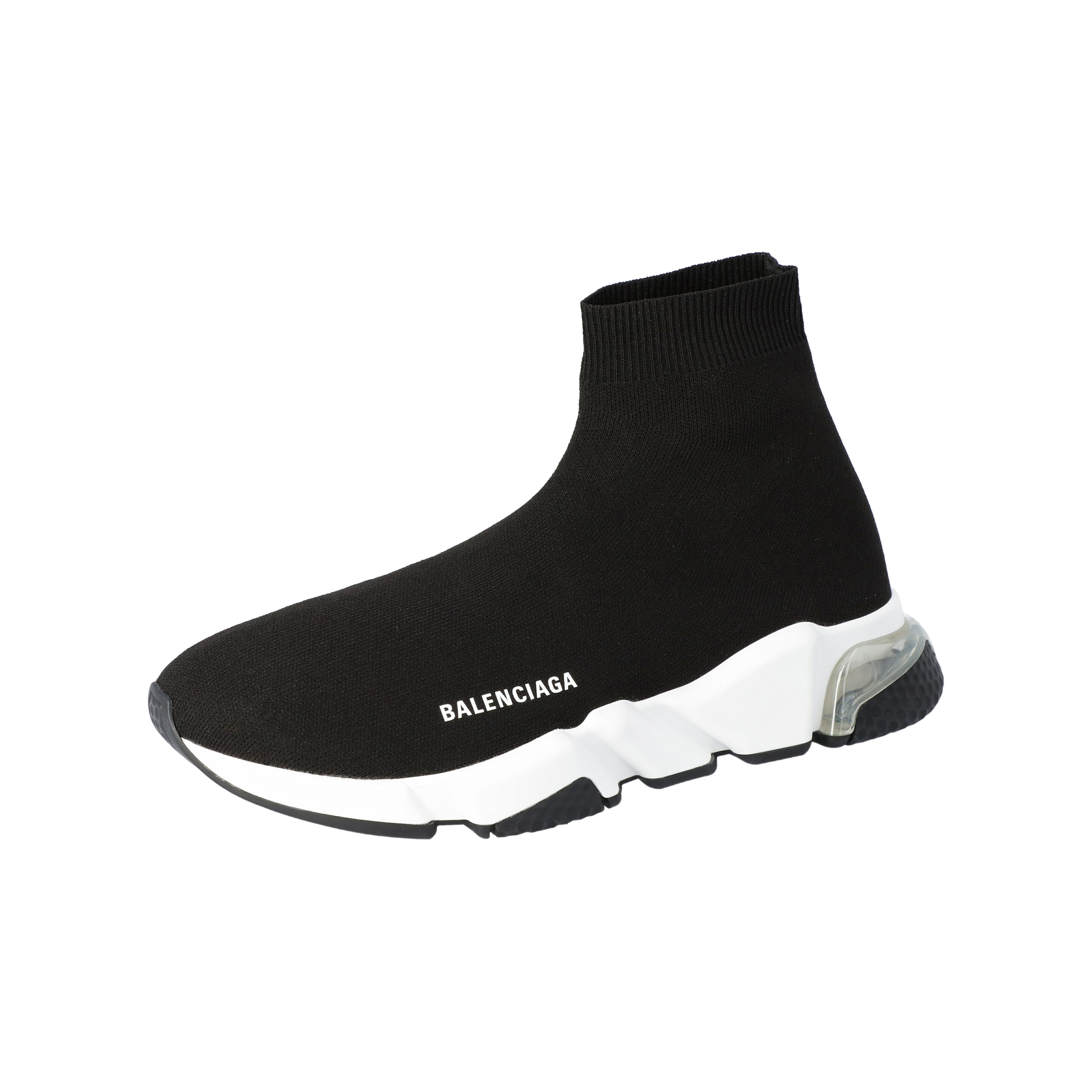 Balenciaga Black Knit Speed Clear Sole Sneakers Size 42