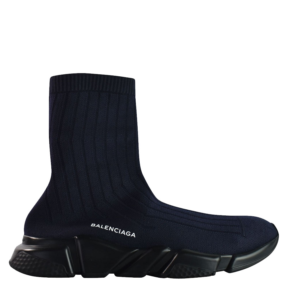 Balenciaga Blue Elastane Speed Ribbed Low Trainer Sneakers Size 43