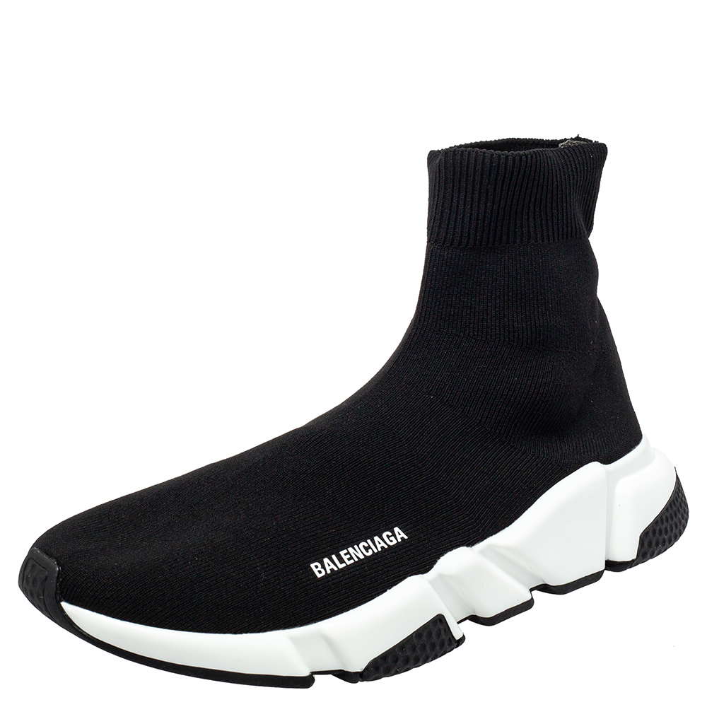 Pre-owned Balenciaga Black Knit Fabric Speed Trainer Sock High Top Sneakers Size 41