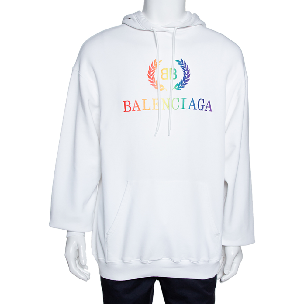Balenciaga White Embroidered Logo Cotton Oversized Hoodie ...