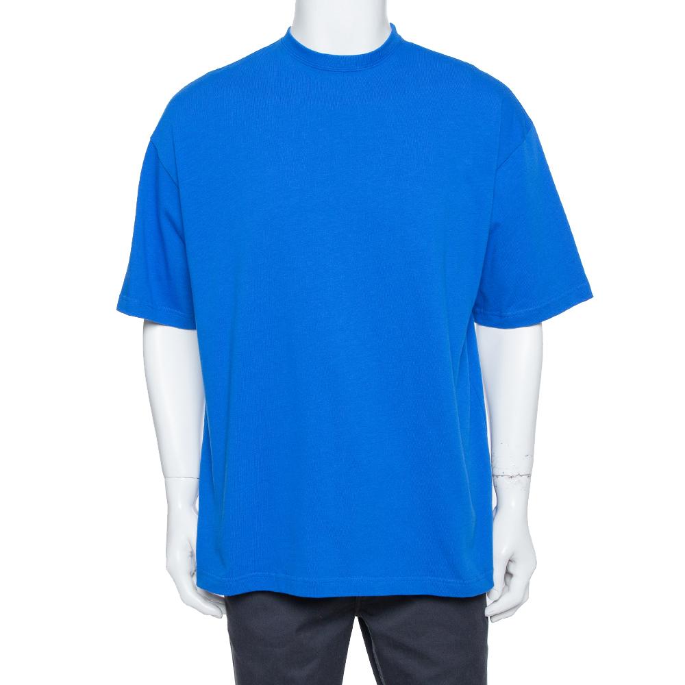 Pre-owned Balenciaga Blue Cotton Logo Printed Crewneck T-shirt M