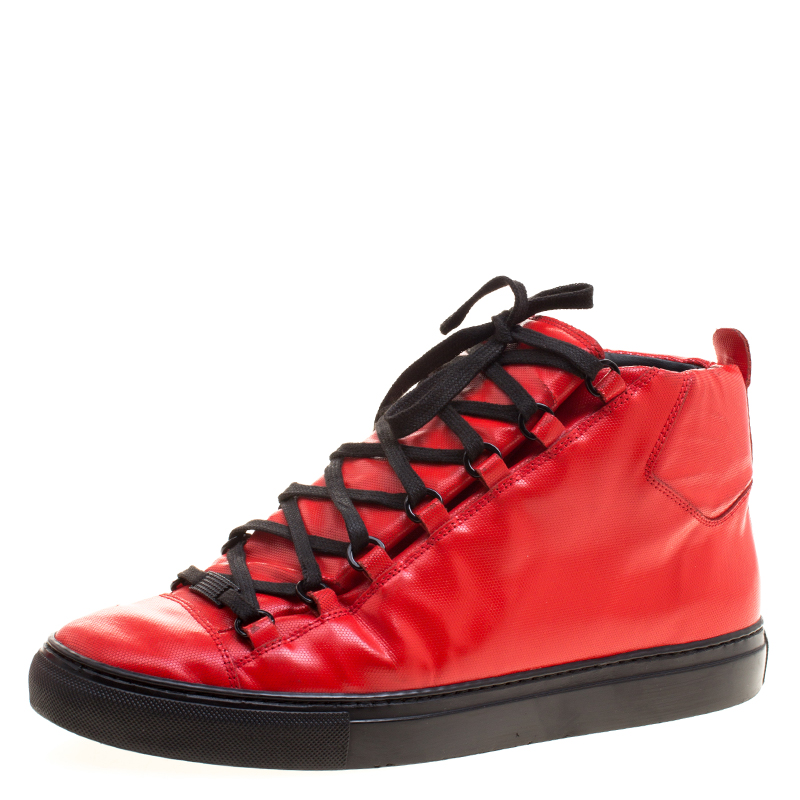 Balenciaga Red Embossed Nubuck Arena High Top Sneakers Size 44
