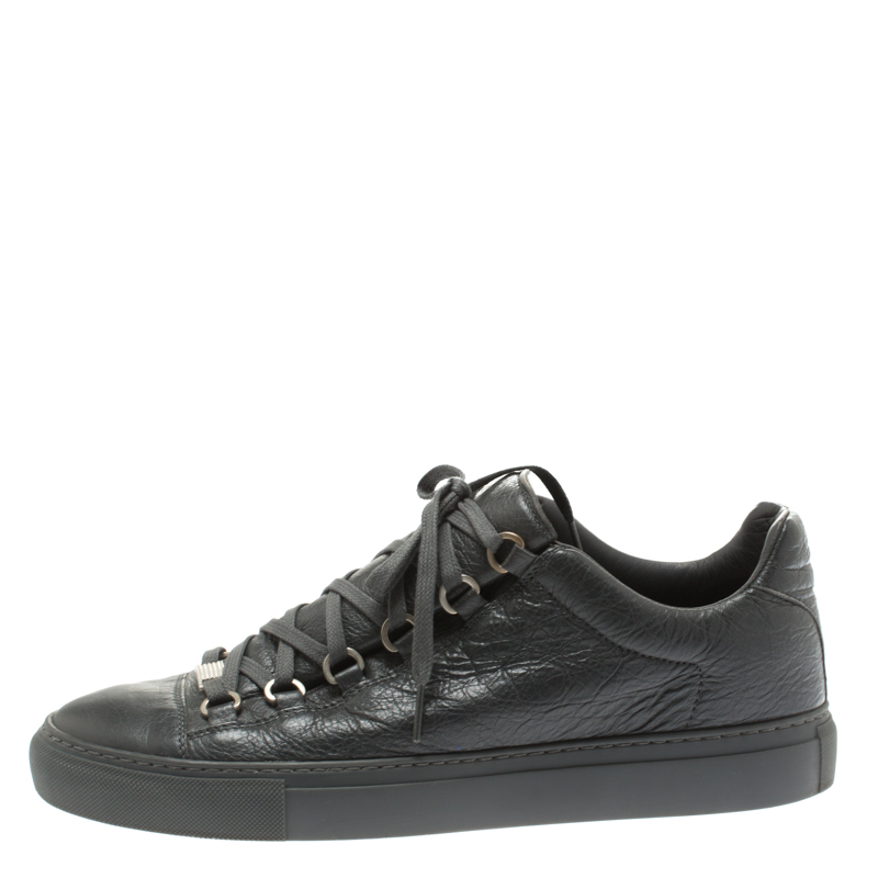 on sale promo codes attractive price Balenciaga Grey Leather Arena Low Top Sneakers Size 41