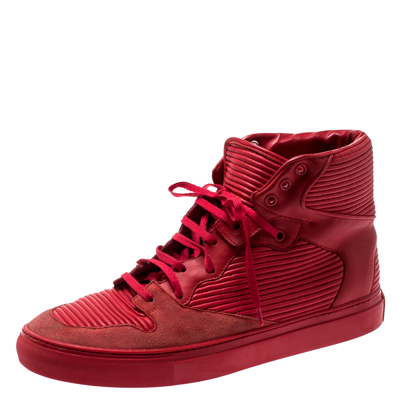 Balenciaga Red Leather And Suede High