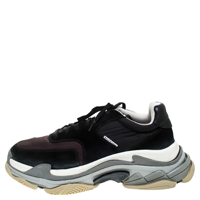Balenciaga Multicolor Nylon, Leather And Suede Triple S Trainer Sneakers Size