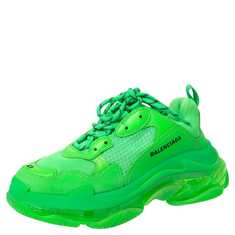 Balenciaga Neon Green Mesh And Leather