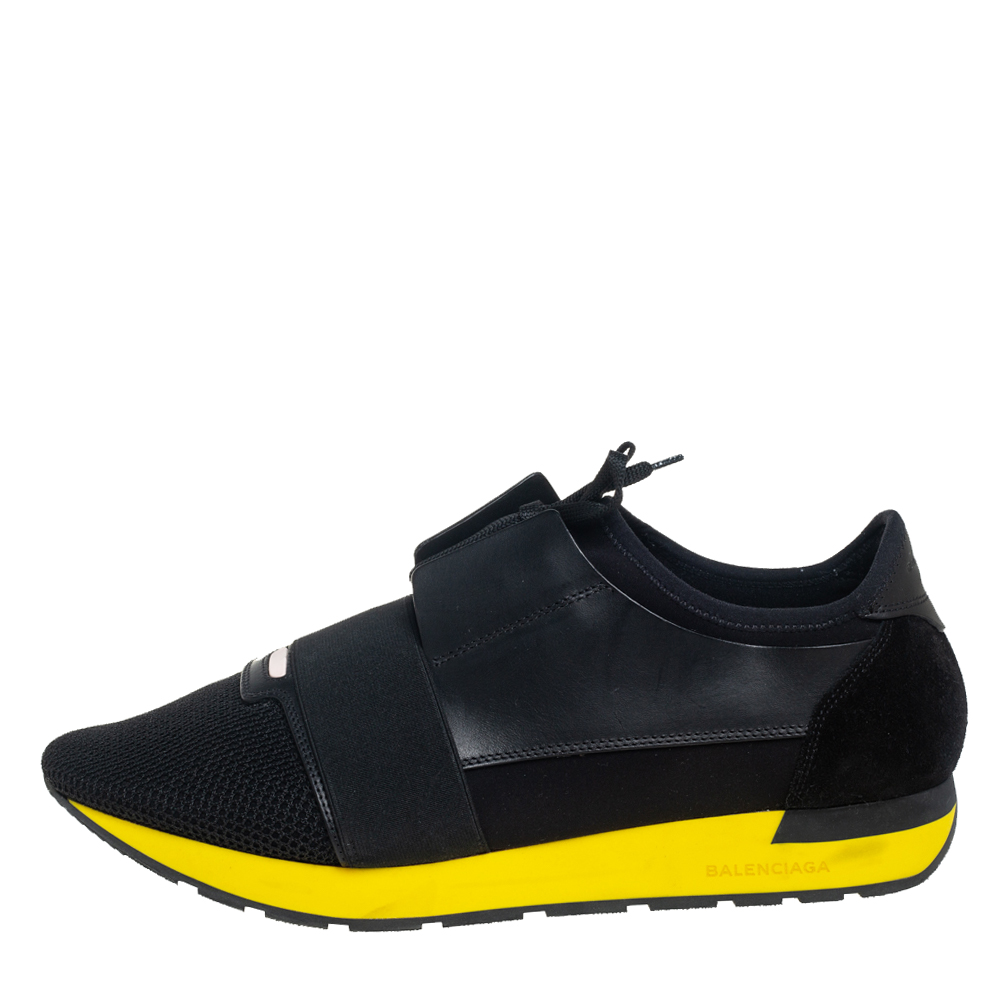 Balenciaga Black Mesh And Leather Race Runner Low Top Sneakers Size 45  - buy with discount