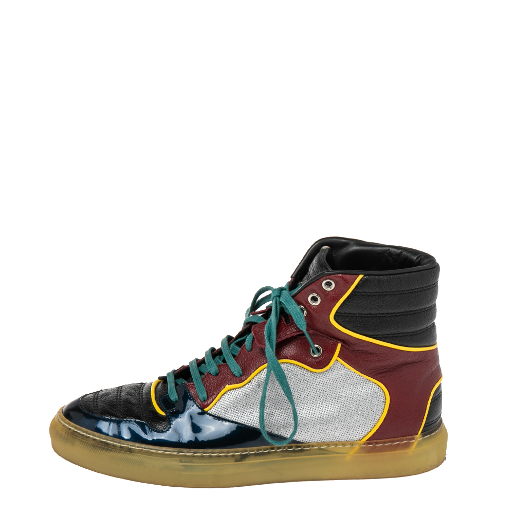 Balenciaga Multicolor Leather And Patent High Top Sneakers Size 41